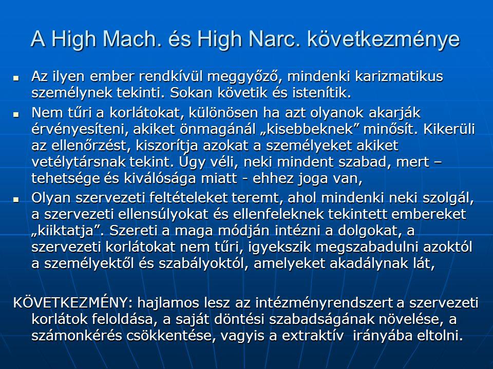 A High Mach. és High Narc. következménye Az ilyen ember rendkívül meggyőző, mindenki karizmatikus személynek tekinti. Sokan követik és istenítik. Az i