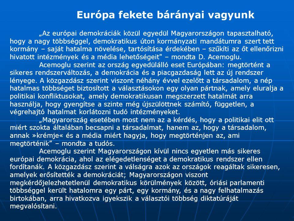 """""""Az európai demokráciák közül egyedül Magyarországon tapasztalható, hogy a nagy többséggel, demokratikus úton kormányzati mandátumra szert tett kormán"""