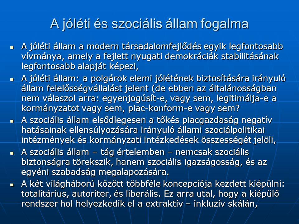 A jóléti és szociális állam fogalma A jóléti állam a modern társadalomfejlődés egyik legfontosabb vívmánya, amely a fejlett nyugati demokráciák stabil