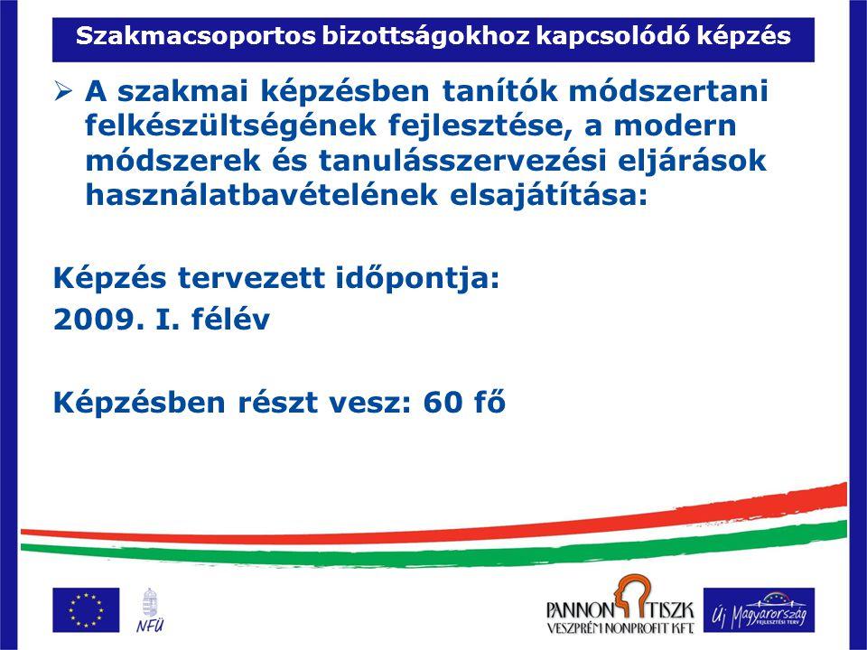 Szakmacsoportos bizottságokhoz kapcsolódó képzés  Pályaorientációs felelősök képzése (szakmacsoportonként minimum 1 fő): Képzés tervezett időpontja: 2009.