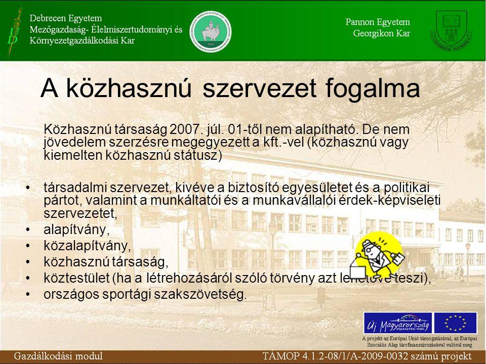 A közhasznú szervezet fogalma Közhasznú társaság 2007.