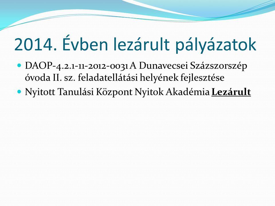 2014. Évben lezárult pályázatok DAOP-4.2.1-11-2012-0031 A Dunavecsei Százszorszép óvoda II.