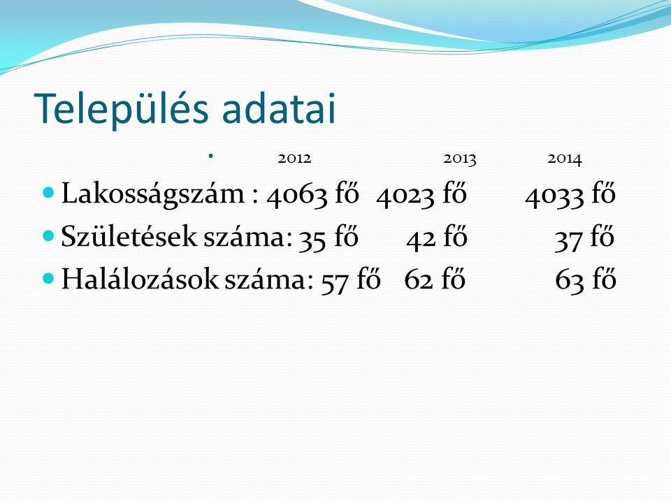 Település adatai 20122013 2014 Lakosságszám : 4063 fő4023 fő 4033 fő Születések száma: 35 fő 42 fő 37 fő Halálozások száma: 57 fő 62 fő 63 fő
