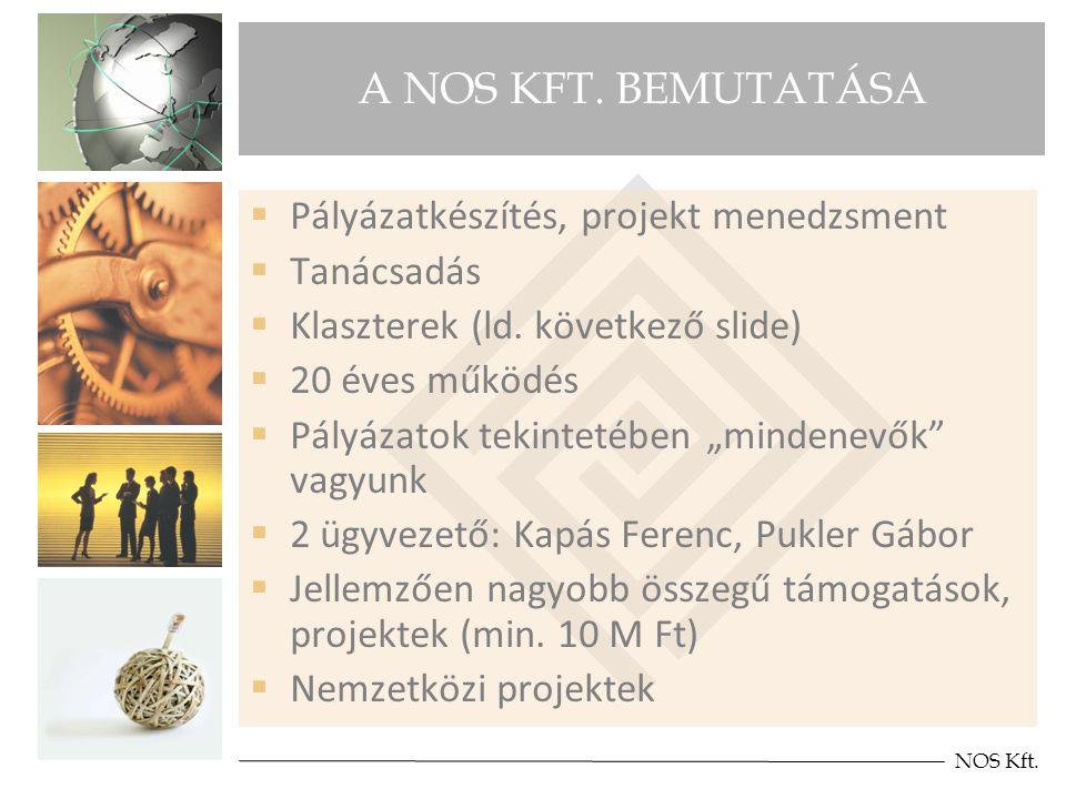 A NOS KFT. BEMUTATÁSA  Pályázatkészítés, projekt menedzsment  Tanácsadás  Klaszterek (ld.