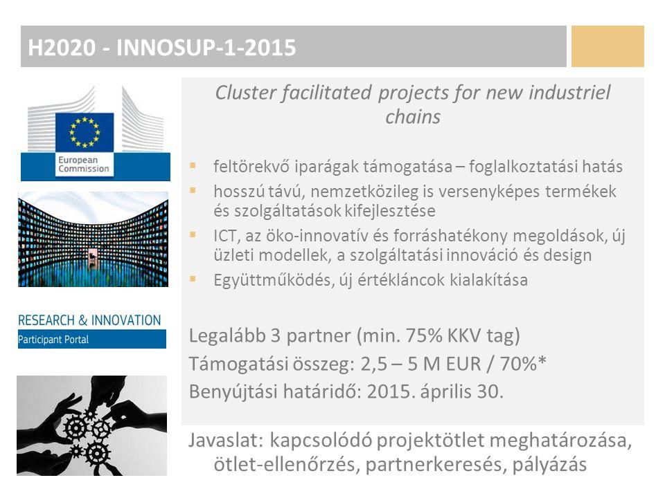 H2020 - INNOSUP-1-2015 Cluster facilitated projects for new industriel chains  feltörekvő iparágak támogatása – foglalkoztatási hatás  hosszú távú, nemzetközileg is versenyképes termékek és szolgáltatások kifejlesztése  ICT, az öko-innovatív és forráshatékony megoldások, új üzleti modellek, a szolgáltatási innováció és design  Együttműködés, új értékláncok kialakítása Legalább 3 partner (min.