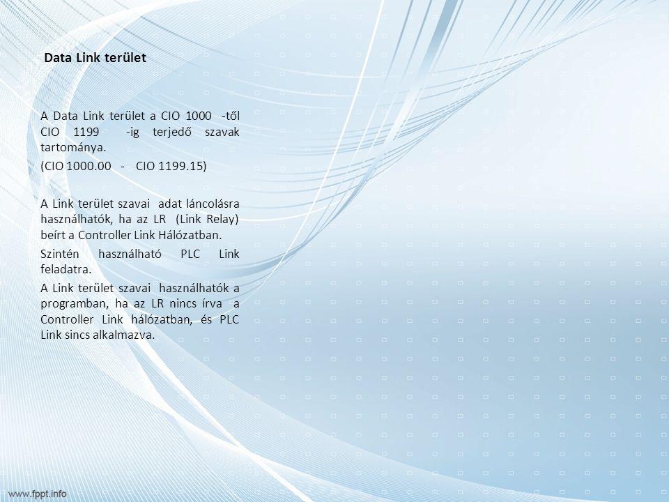 Data Link terület A Data Link terület a CIO 1000 -től CIO 1199 -ig terjedő szavak tartománya.