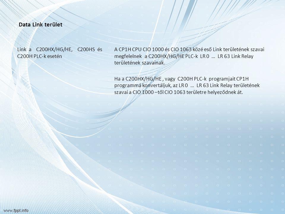 Data Link terület Link a C200HX/HG/HE, C200HS és C200H PLC-k esetén A CP1H CPU CIO 1000 és CIO 1063 közé eső Link területének szavai megfelelnek a C200HX/HG/HE PLC-k LR 0 … LR 63 Link Relay területének szavainak.