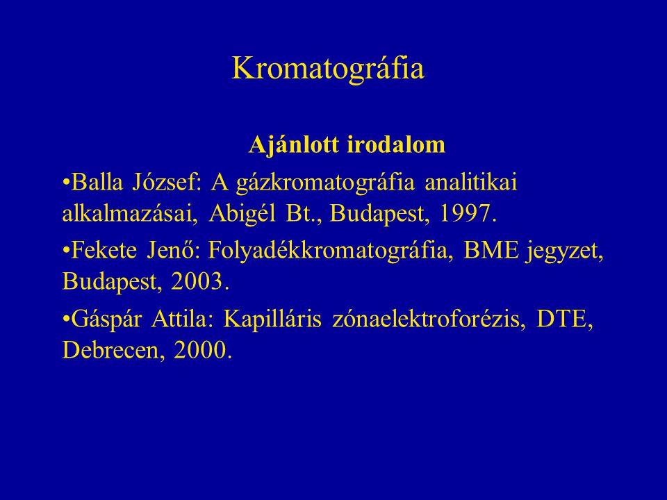 Kromatográfia Ajánlott irodalom Balla József: A gázkromatográfia analitikai alkalmazásai, Abigél Bt., Budapest, 1997. Fekete Jenő: Folyadékkromatográf