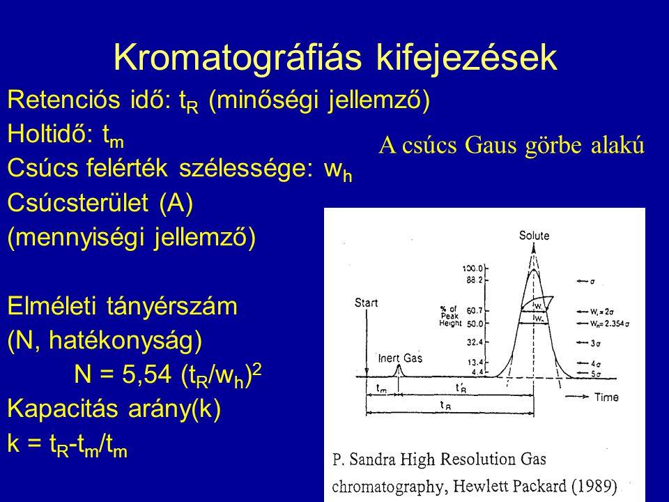 Kromatográfiás kifejezések Retenciós idő: t R (minőségi jellemző) Holtidő: t m Csúcs felérték szélessége: w h Csúcsterület (A) (mennyiségi jellemző) E