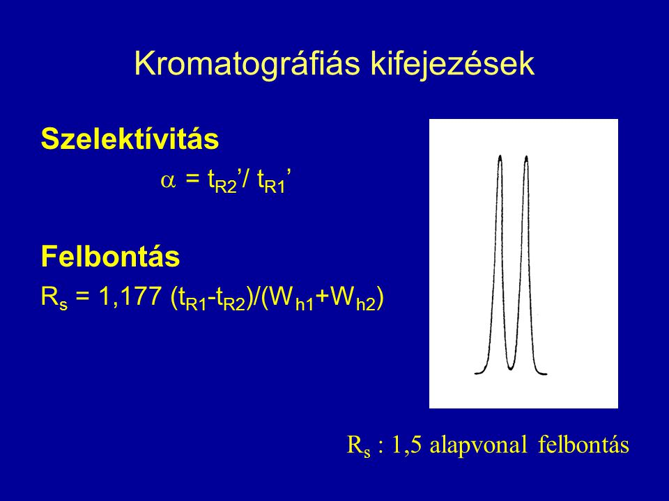 Kromatográfiás kifejezések Szelektívitás  = t R2 '/ t R1 ' Felbontás R s = 1,177 (t R1 -t R2 )/(W h1 +W h2 ) R s : 1,5 alapvonal felbontás