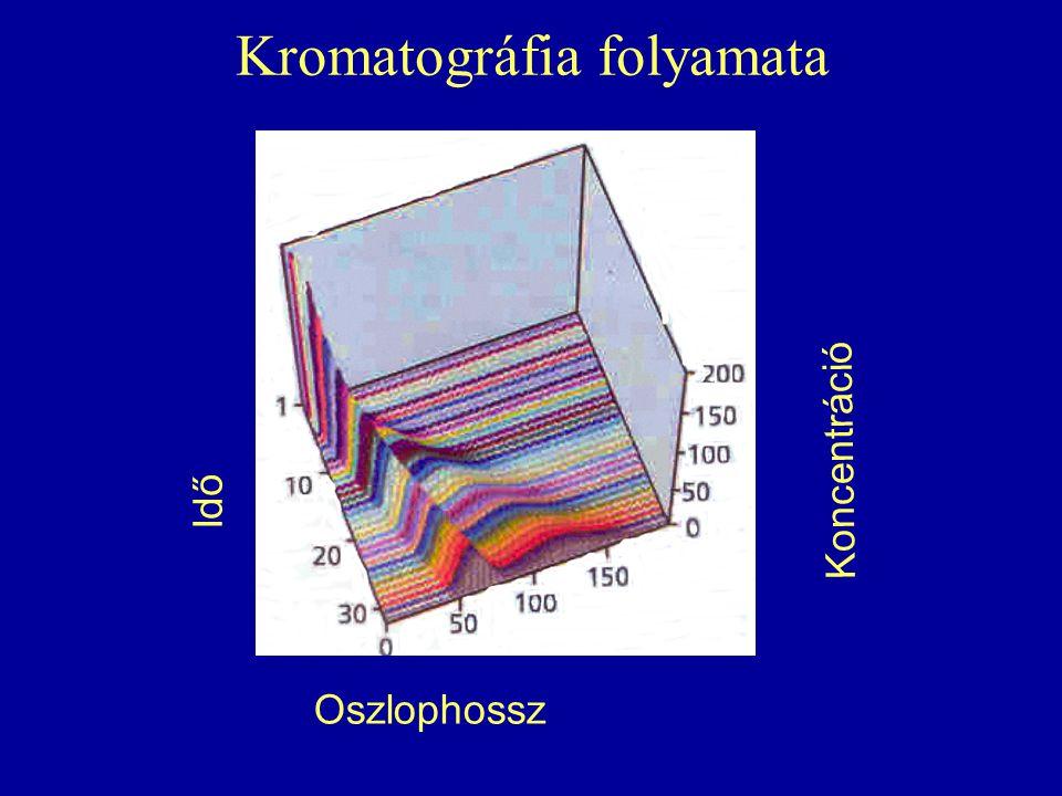 Kromatográfia folyamata Oszlophossz Koncentráció Idő