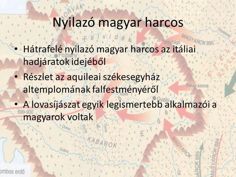 Nyilazó magyar harcos Hátrafelé nyilazó magyar harcos az itáliai hadjáratok idejéből Részlet az aquileai székesegyház altemplomának falfestményéről A