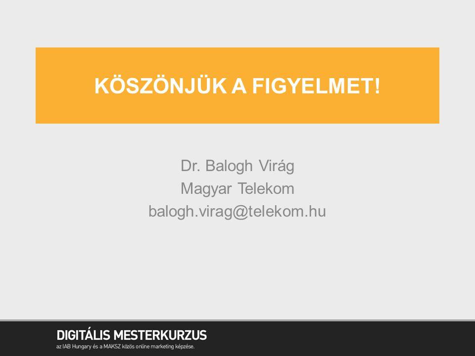 KÖSZÖNJÜK A FIGYELMET! Dr. Balogh Virág Magyar Telekom balogh.virag@telekom.hu