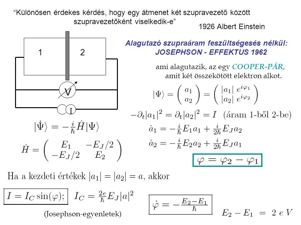 Különösen érdekes kérdés, hogy egy átmenet két szupravezető között szupravezetőként viselkedik-e 1926 Albert Einstein Alagutazó szupraáram feszültségesés nélkül: JOSEPHSON - EFFEKTUS 1962 ami alagutazik, az egy COOPER-PÁR, amit két összekötött elektron alkot.