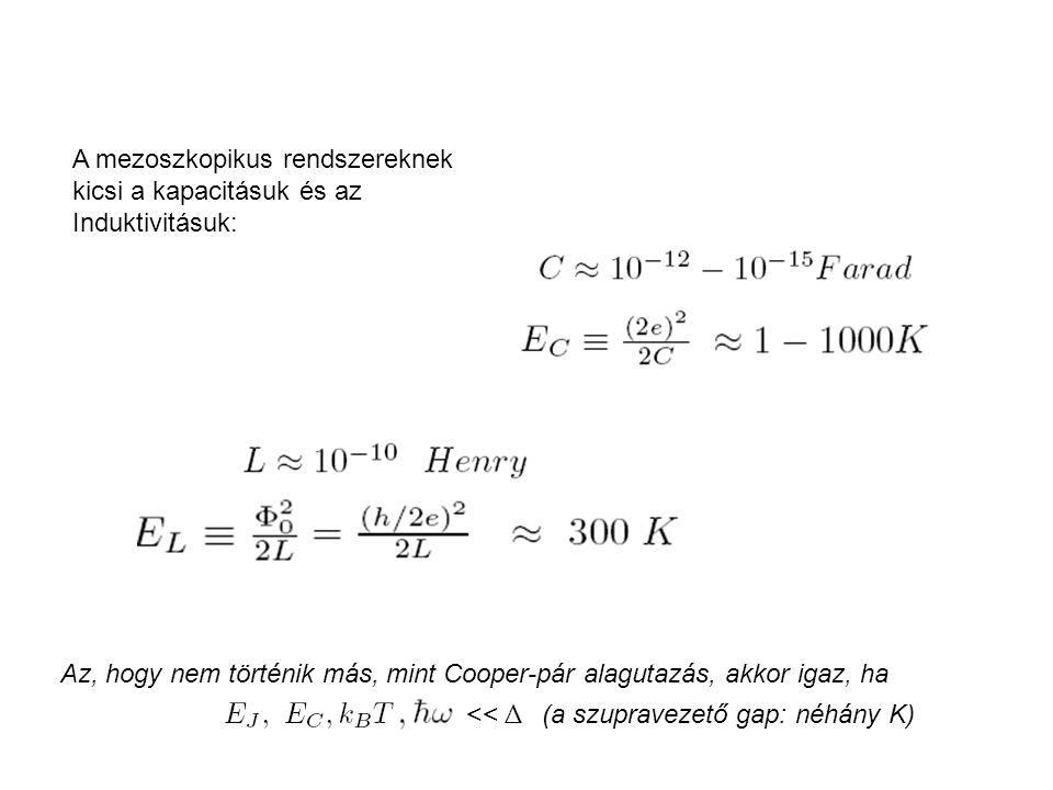 A mezoszkopikus rendszereknek kicsi a kapacitásuk és az Induktivitásuk: Az, hogy nem történik más, mint Cooper-pár alagutazás, akkor igaz, ha << Δ (a szupravezető gap: néhány K)