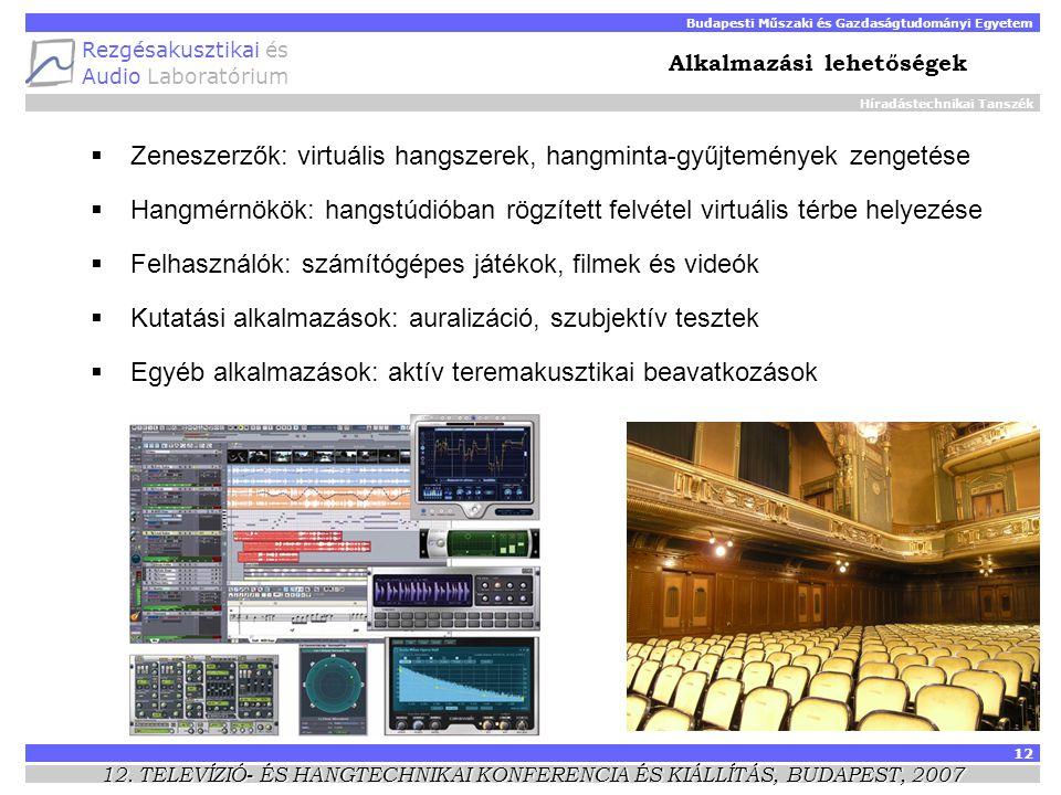 Híradástechnikai Tanszék Budapesti Műszaki és Gazdaságtudományi Egyetem Rezgésakusztikai és Audio Laboratórium 12 12.