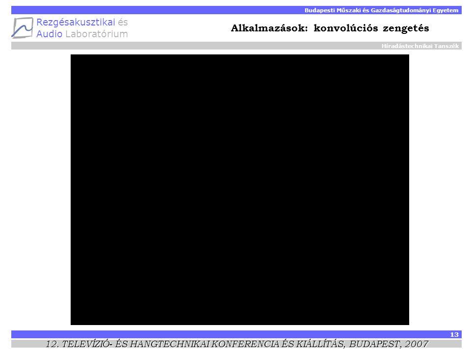 Híradástechnikai Tanszék Budapesti Műszaki és Gazdaságtudományi Egyetem Rezgésakusztikai és Audio Laboratórium 13 12.