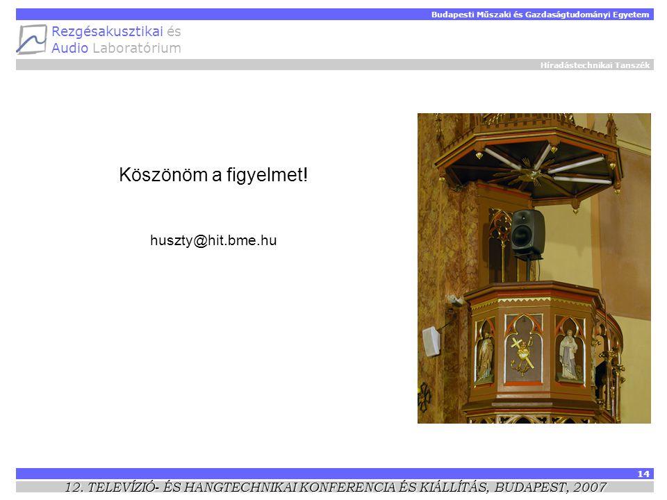 Híradástechnikai Tanszék Budapesti Műszaki és Gazdaságtudományi Egyetem Rezgésakusztikai és Audio Laboratórium 14 12.
