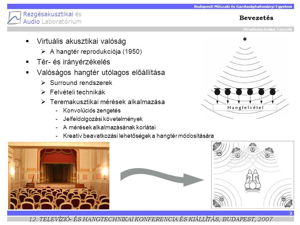 Híradástechnikai Tanszék Budapesti Műszaki és Gazdaságtudományi Egyetem Rezgésakusztikai és Audio Laboratórium 2 12.