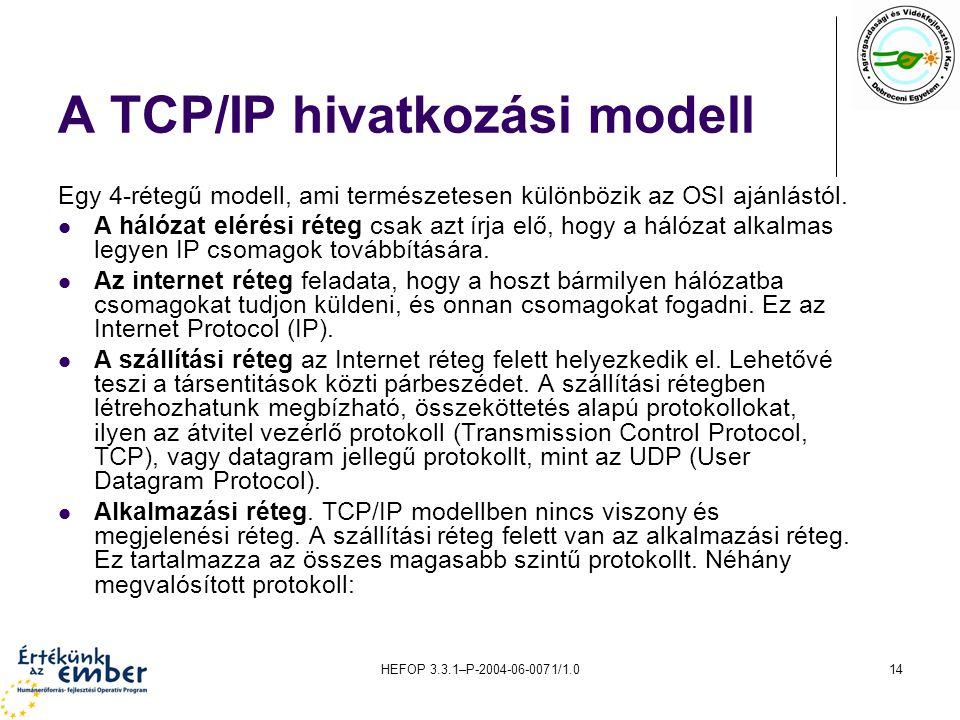HEFOP 3.3.1–P-2004-06-0071/1.014 A TCP/IP hivatkozási modell Egy 4-rétegű modell, ami természetesen különbözik az OSI ajánlástól.