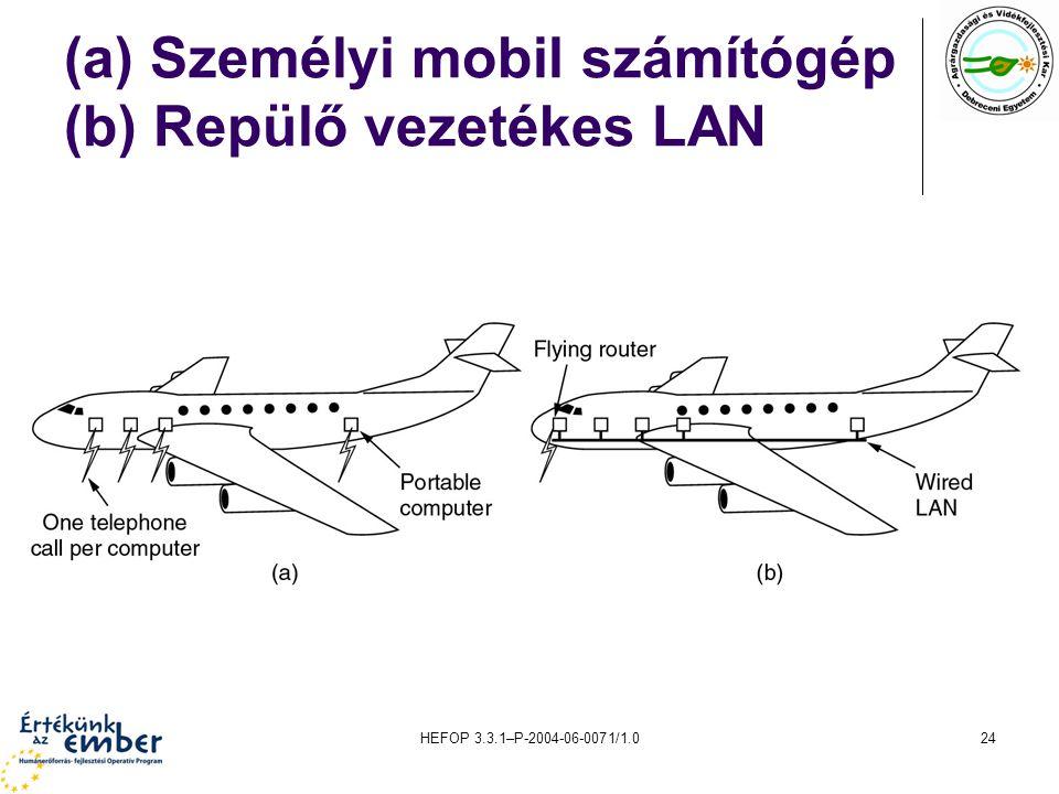 HEFOP 3.3.1–P-2004-06-0071/1.024 (a) Személyi mobil számítógép (b) Repülő vezetékes LAN
