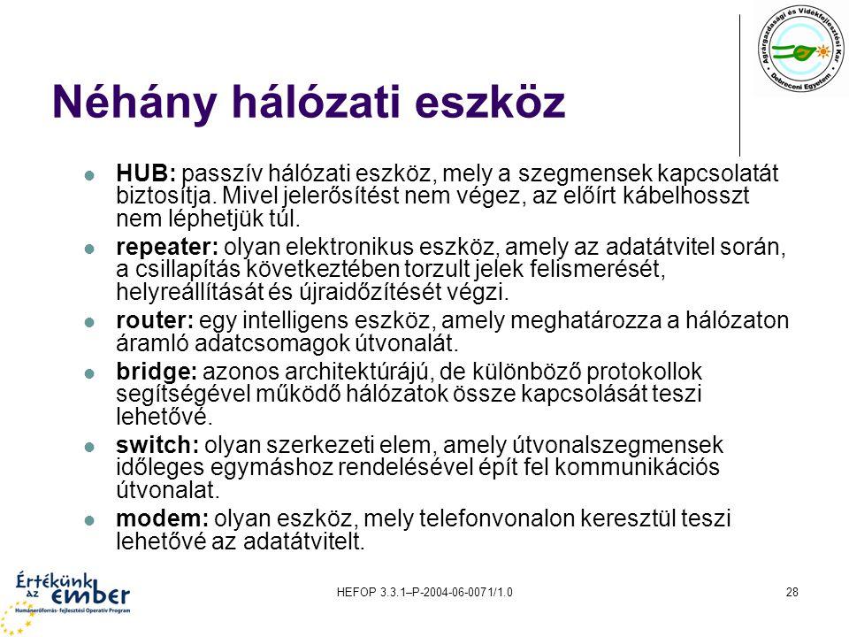 HEFOP 3.3.1–P-2004-06-0071/1.028 Néhány hálózati eszköz HUB: passzív hálózati eszköz, mely a szegmensek kapcsolatát biztosítja.