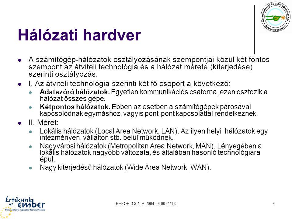 HEFOP 3.3.1–P-2004-06-0071/1.06 Hálózati hardver A számítógép-hálózatok osztályozásának szempontjai közül két fontos szempont az átviteli technológia és a hálózat mérete (kiterjedése) szerinti osztályozás.