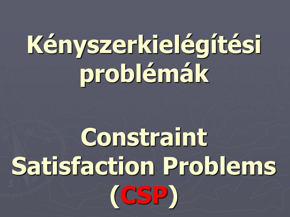 2 Keresés: -1 ágens (nincs ellenfél) - determinisztikus cselekvések (nincs bizonytalanság) - a világ teljesen megfigyelhető - a keresési tér diszkrét Kényszerkielégítési problémák