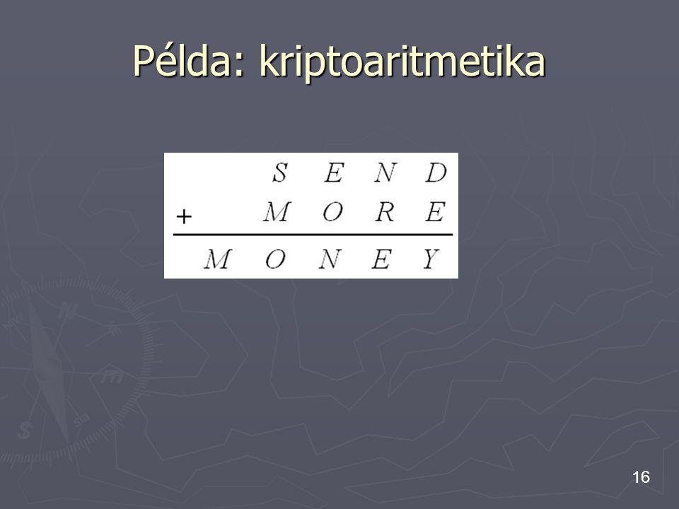 16 Példa: kriptoaritmetika