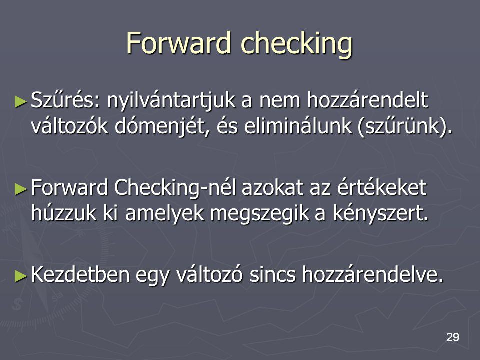 29 Forward checking ► Szűrés: nyilvántartjuk a nem hozzárendelt változók dómenjét, és eliminálunk (szűrünk). ► Forward Checking-nél azokat az értékeke