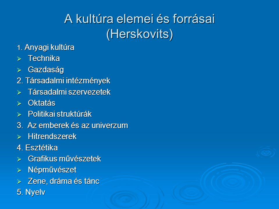 A kultúra elemei és forrásai (Herskovits) 1. Anyagi kultúra  Technika  Gazdaság 2. Társadalmi intézmények  Társadalmi szervezetek  Oktatás  Polit