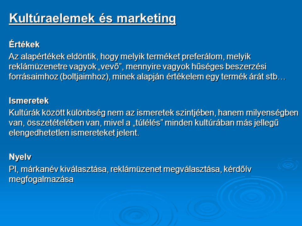 """Kultúraelemek és marketing Értékek Az alapértékek eldöntik, hogy melyik terméket preferálom, melyik reklámüzenetre vagyok """"vevő"""", mennyire vagyok hűsé"""