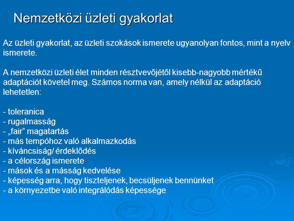 Nemzetközi üzleti gyakorlat Az üzleti gyakorlat, az üzleti szokások ismerete ugyanolyan fontos, mint a nyelv ismerete. A nemzetközi üzleti élet minden