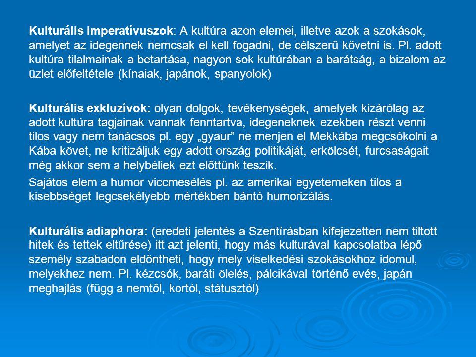 Kulturális imperatívuszok: A kultúra azon elemei, illetve azok a szokások, amelyet az idegennek nemcsak el kell fogadni, de célszerű követni is. Pl. a