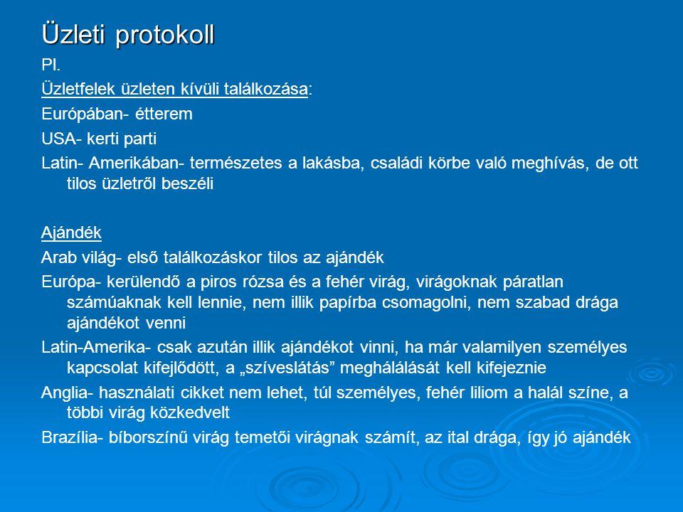 Üzleti protokoll Pl.