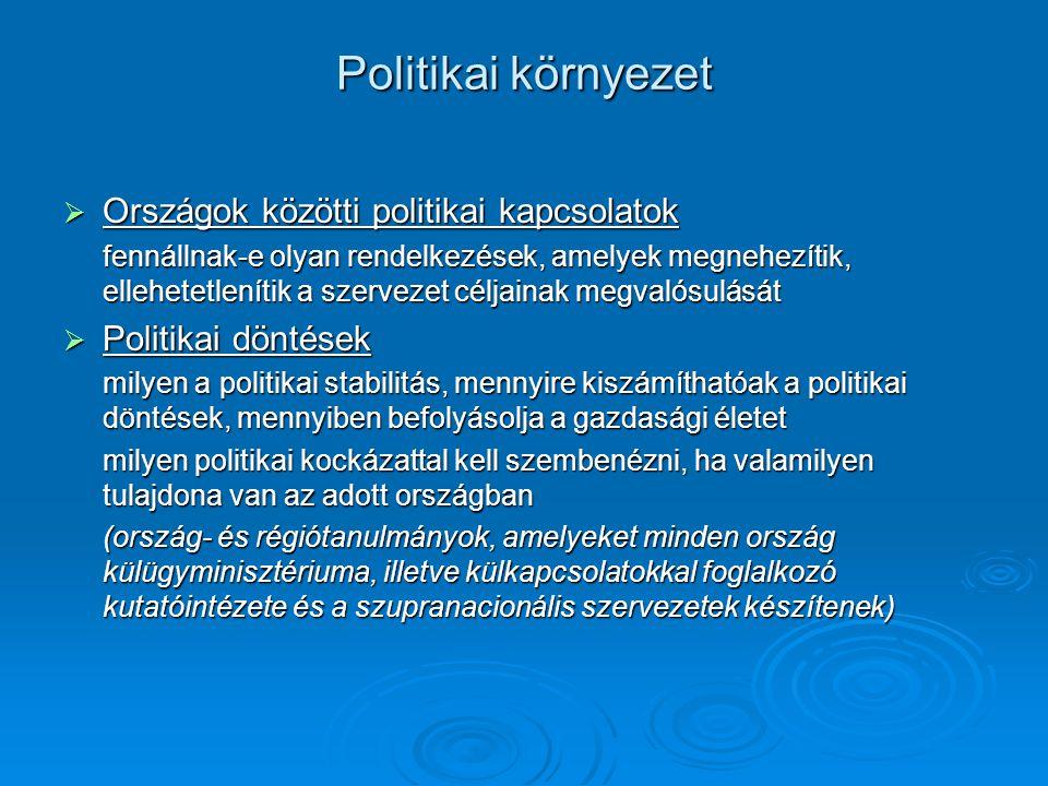 Politikai környezet  Országok közötti politikai kapcsolatok fennállnak-e olyan rendelkezések, amelyek megnehezítik, ellehetetlenítik a szervezet céljainak megvalósulását  Politikai döntések milyen a politikai stabilitás, mennyire kiszámíthatóak a politikai döntések, mennyiben befolyásolja a gazdasági életet milyen politikai kockázattal kell szembenézni, ha valamilyen tulajdona van az adott országban (ország- és régiótanulmányok, amelyeket minden ország külügyminisztériuma, illetve külkapcsolatokkal foglalkozó kutatóintézete és a szupranacionális szervezetek készítenek)