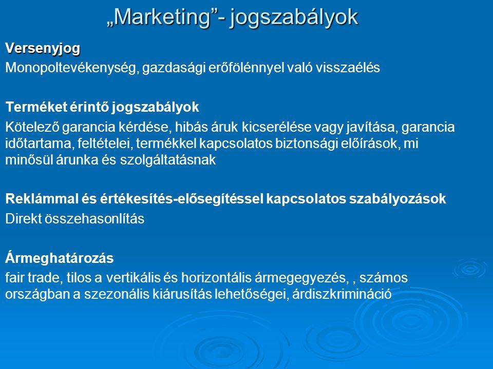 """""""Marketing""""- jogszabályok Versenyjog Monopoltevékenység, gazdasági erőfölénnyel való visszaélés Terméket érintő jogszabályok Kötelező garancia kérdése"""
