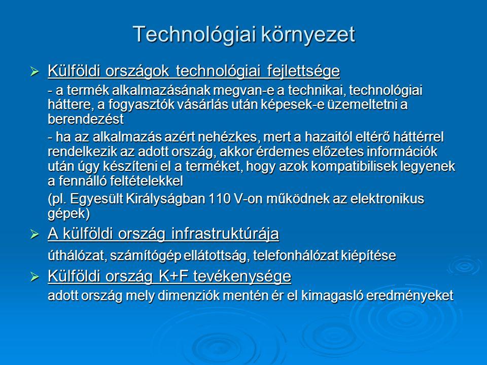 Technológiai környezet  Külföldi országok technológiai fejlettsége - a termék alkalmazásának megvan-e a technikai, technológiai háttere, a fogyasztók vásárlás után képesek-e üzemeltetni a berendezést - ha az alkalmazás azért nehézkes, mert a hazaitól eltérő háttérrel rendelkezik az adott ország, akkor érdemes előzetes információk után úgy készíteni el a terméket, hogy azok kompatibilisek legyenek a fennálló feltételekkel (pl.