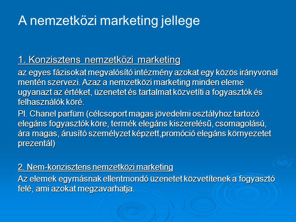 1. Konzisztens nemzetközi marketing az egyes fázisokat megvalósító intézmény azokat egy közös irányvonal mentén szervezi. Azaz a nemzetközi marketing