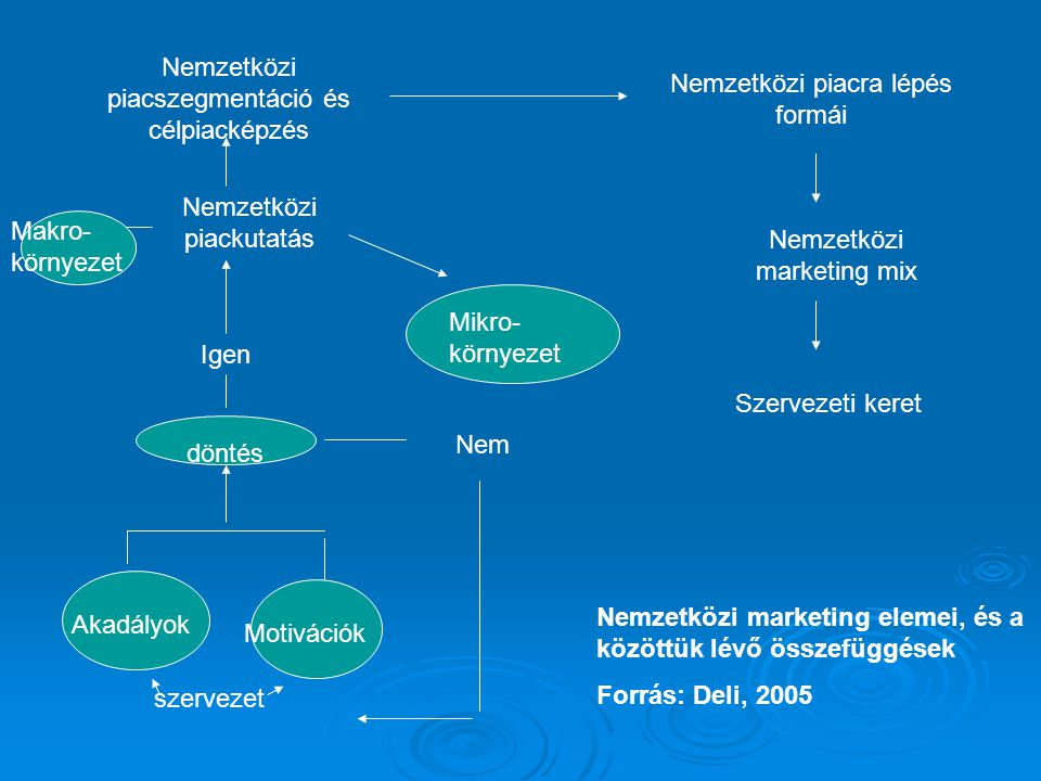 A nemzetközi piackutatás folyamata A nemzetközi piackutatás céljának, kutatási problémának az azonosítása A nemzetközi piackutatás elvégzéséhez szóba jövő információk forrásainak, és az információgyűjtés technikáinak meghatározása Az információk begyűjtése Az információk értelmezése, elemzése, következtetések levonása Az értelmezett, elemzett információk alternatívák formájában történő prezentálása