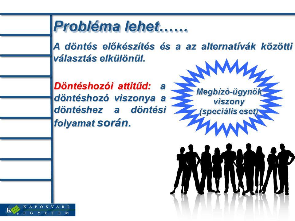 Probléma lehet…… A döntés előkészítés és a az alternatívák közötti választás elkülönül.