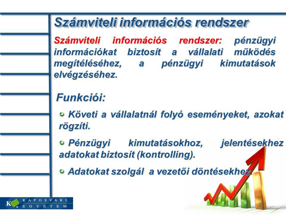 Számviteli információs rendszer Számviteli információs rendszer: pénzügyi információkat biztosít a vállalati működés megítéléséhez, a pénzügyi kimutatások elvégzéséhez.