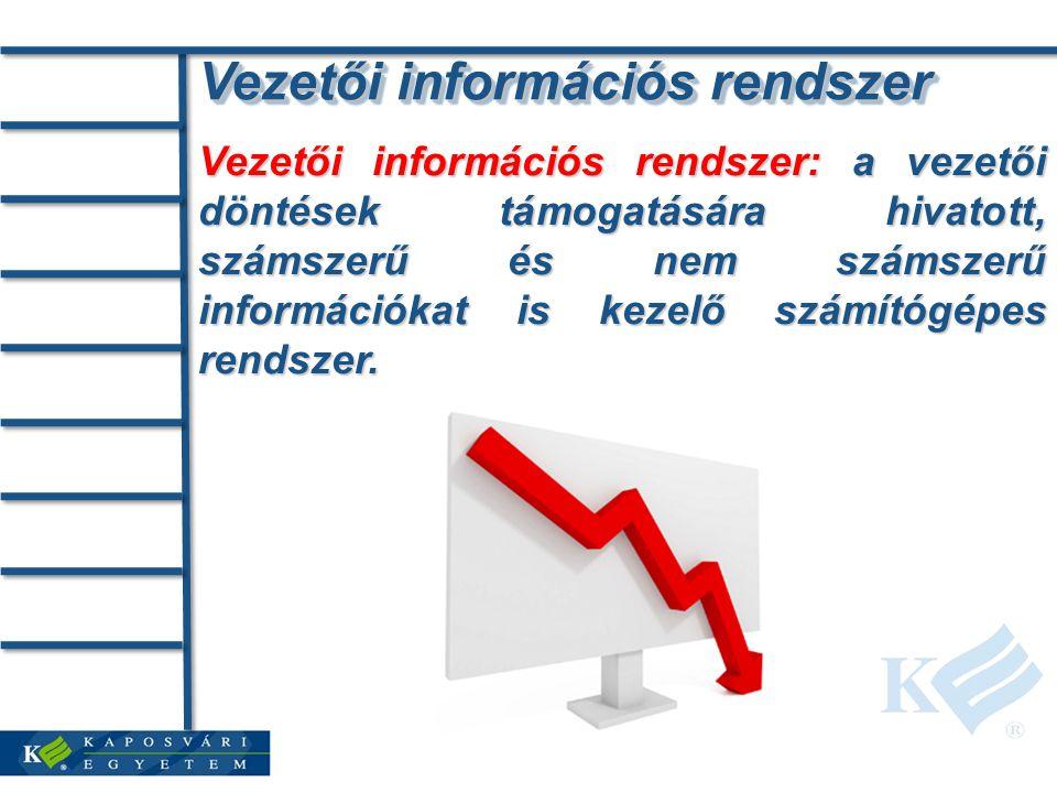 Vezetői információs rendszer Vezetői információs rendszer: a vezetői döntések támogatására hivatott, számszerű és nem számszerű információkat is kezelő számítógépes rendszer.