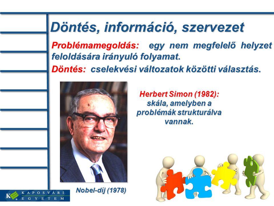 Döntés, információ, szervezet Problémamegoldás: egy nem megfelelő helyzet feloldására irányuló folyamat.