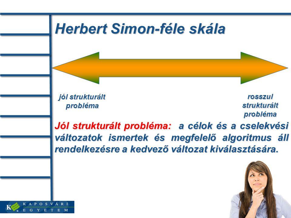 Herbert Simon-féle skála jól strukturált probléma rosszul strukturált probléma Jól strukturált probléma: a célok és a cselekvési változatok ismertek és megfelelő algoritmus áll rendelkezésre a kedvező változat kiválasztására.