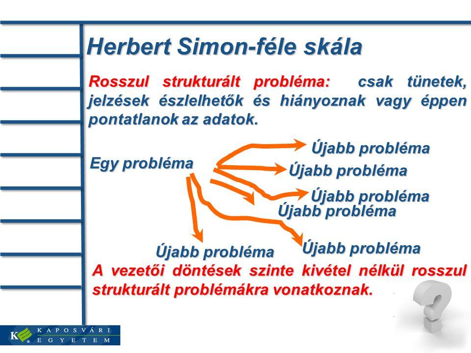 Herbert Simon-féle skála Rosszul strukturált probléma: csak tünetek, jelzések észlelhetők és hiányoznak vagy éppen pontatlanok az adatok.