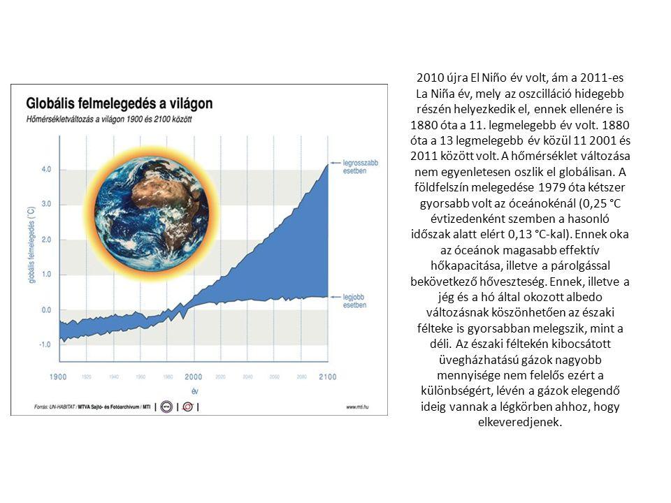2010 újra El Niño év volt, ám a 2011-es La Niña év, mely az oszcilláció hidegebb részén helyezkedik el, ennek ellenére is 1880 óta a 11.