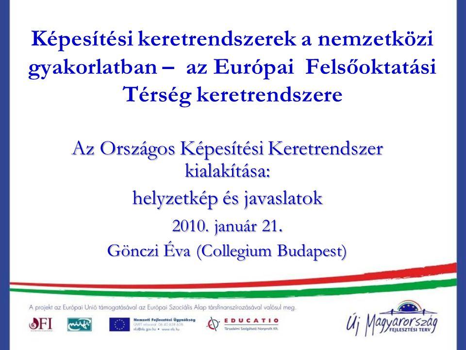 Képesítési keretrendszerek a nemzetközi gyakorlatban – az Európai Felsőoktatási Térség keretrendszere Az Országos Képesítési Keretrendszer kialakítása: helyzetkép és javaslatok 2010.