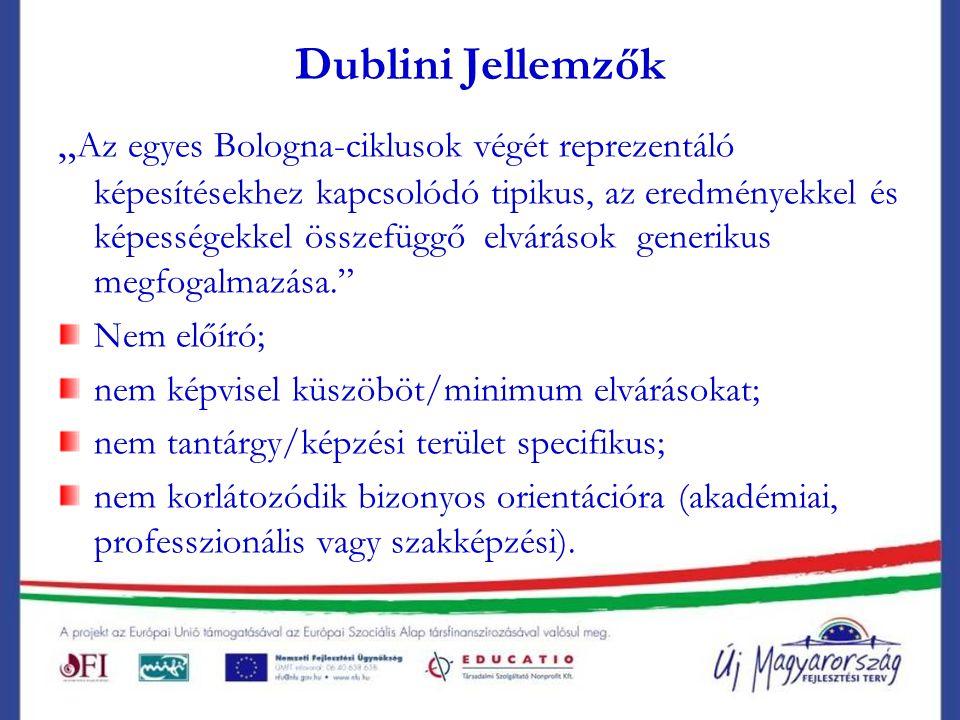 """Dublini Jellemzők """" Az egyes Bologna-ciklusok végét reprezentáló képesítésekhez kapcsolódó tipikus, az eredményekkel és képességekkel összefüggő elvárások generikus megfogalmazása. Nem előíró; nem képvisel küszöböt/minimum elvárásokat; nem tantárgy/képzési terület specifikus; nem korlátozódik bizonyos orientációra (akadémiai, professzionális vagy szakképzési)."""