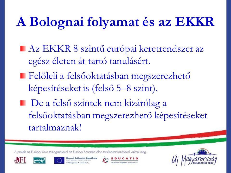 A Bolognai folyamat és az EKKR Az EKKR 8 szintű európai keretrendszer az egész életen át tartó tanulásért.